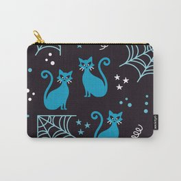 Halloween cats blue party Carry-All Pouch