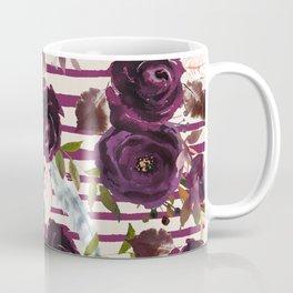 Watercolor ivory purple burgundy brown floral stripes Coffee Mug