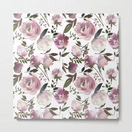 Modern hand painted ivory purple pink watercolor roses Metal Print