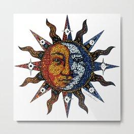Celestial Mosaic Sun/Moon Metal Print