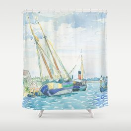 Marine Scene (Boats near Venice) by Henri-Edmond Cross1903, French Shower Curtain
