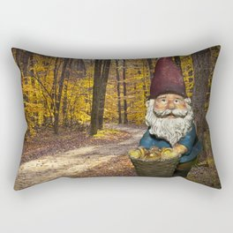 Gnome gathering mushrooms along a Forest Path in Autumn Rectangular Pillow