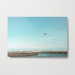 Minimalist Blue And Brown Seascape Metal Print