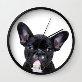 French bulldog portrait Wall Clock