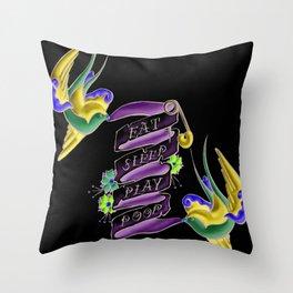 Eat Sleep Play Poop Throw Pillow
