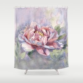 Pink Peonies Watercolor Flowers Peony Painting Floral art print Shower Curtain