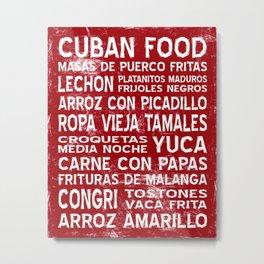 Cuban Food Word Food Art Poster (Red) Metal Print