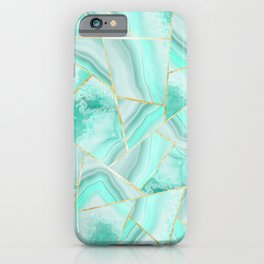 Soft Turquoise Agate Gold Geometric Summer Glam #1 #geo #decor #art #society6 iPhone Case