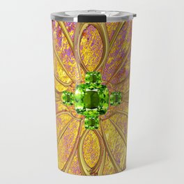 Lilac-Gold Green Peridot Gems August Birthstone Design Travel Mug