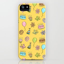 """Birthday"" (Yellow) iPhone Case"