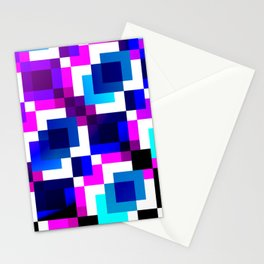 Blue and Purple Squares Stationery Cards