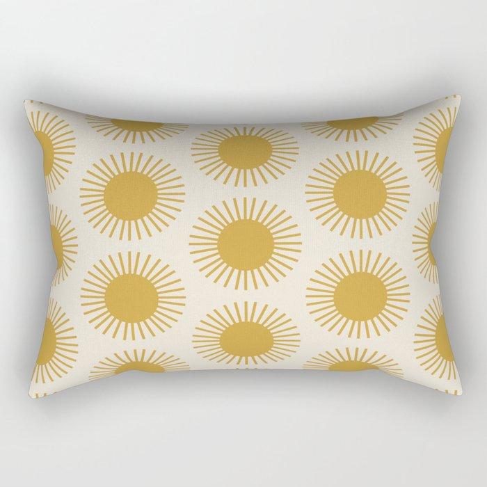 Golden Sun Pattern Rectangular Pillow