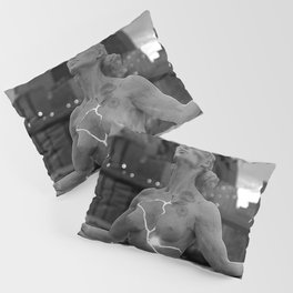 Female Nude Statue, Brooklyn, New York Waterfront black and white photograph Pillow Sham