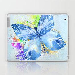 Blue Butterfly Watercolor Rainbow And Gold Laptop & iPad Skin