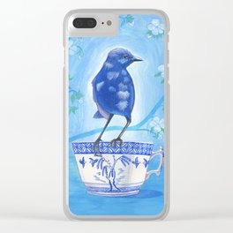 coffee loving splendid fairy wren Clear iPhone Case