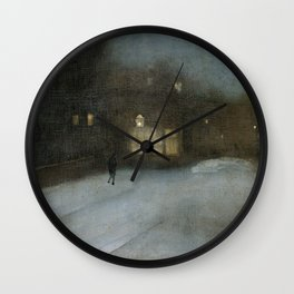 Nocturne in Grey and Gold - Chelsea Snow by James McNeill Whistler Wall Clock