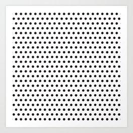 Black white geometrical simple polka dots pattern Art Print