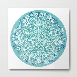 Spring Arrangement - teal & white floral doodle Metal Print