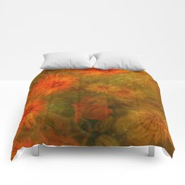 """Golden Manila Flowers"" Comforters"