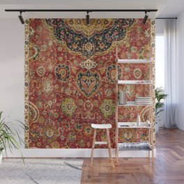 Indian Boho II // 16th Century Distressed Red Green Blue Flowery Colorful Ornate Rug Pattern Wall Mural