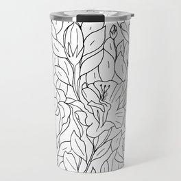 Floral Sketch - B&W Travel Mug