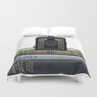 old school Duvet Covers featuring Old School by Maureen Bates Photography