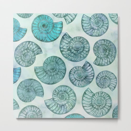 Shimmering Underwater Shell Scenery in turquoise, aqua and teal Metal Print