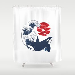 Wave Killer Whale Shower Curtain