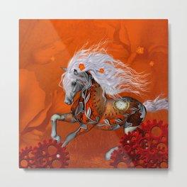 Steampunk, wonderful wild steampunk horse Metal Print