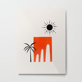 Minimalist Modern Abstract Ancient Ruins Paper Collage by Ejaaz Haniff Metal Print