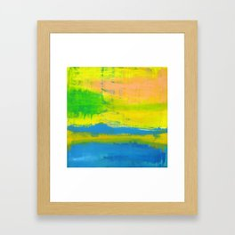 'A Sunny Day' Yellow Coral Blue Abstract Art Framed Art Print