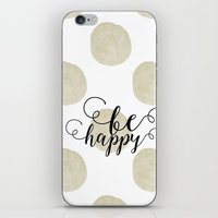 gold dots iPhone & iPod Skins featuring Gold Watercolor Dots Happy by Zen and Chic