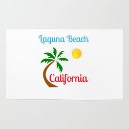 Laguna Beach California Palm Tree and Sun Rug