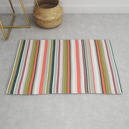 Stripes together with living coral Rug