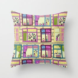 House wall with cute windows Throw Pillow