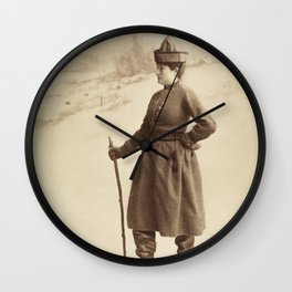 Vintage Skiing Photo Wall Clock