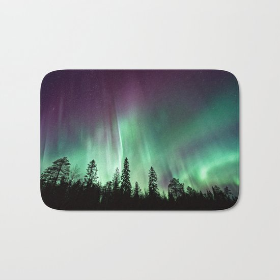 Colorful Northern Lights, Aurora Borealis Bath Mat