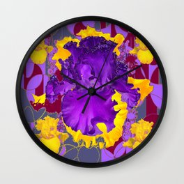 Amethyst Purple Iris Geometric lilac & Grey Patterns Wall Clock