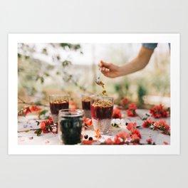 chia seeds pudding with aronia berry Art Print
