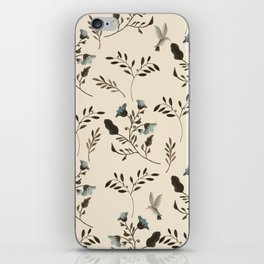 Ivory Cream and Bluebells and Bluebirds Floral Pattern Flowers in Blue and Bark Brown iPhone Skin