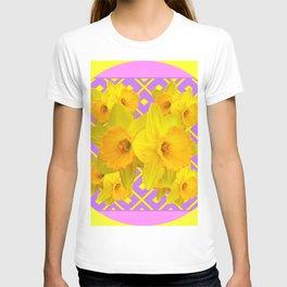 Yellow & Fuchsia Round Pattern Daffodils T-shirt
