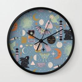 Lunar Pattern: Blue Moon Wall Clock