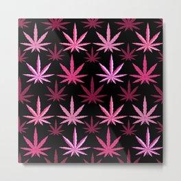Marijuana Magenta Pink Weed Metal Print