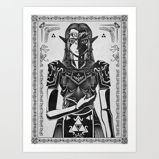 Legend of Zelda Princess Zelda Geek Art Portrait Art Print