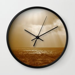 NAVAL SUNSET LOOKING FROM USS PEARL HARBOR LSD 52 Wall Clock