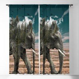 Surrealist elephant on a dry African landscape photo Blackout Curtain