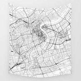 Shanghai White Map Wall Tapestry