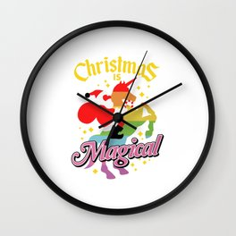 Christmas Is Magical Santa Claus Riding Unicorn Wall Clock