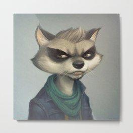 Hipster Raccoon Metal Print