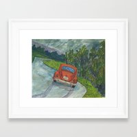 volkswagon Framed Art Prints featuring Rainy Day Bug by Barb Laskey Studio